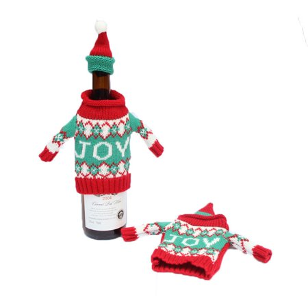 Fancyleo 2pcs Cute Wine Bottle Sweater Cover Bag Santa Claus Knitting Hats for New Year Xmas Home Dinner Party Christmas - Decorations For New Year