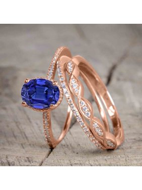 f87ce8a26d7e36 Product Image Beautiful 1.5 Carat Oval Cut Real Sapphire and Diamond Wedding  Trio Ring Set with Engagement Ring