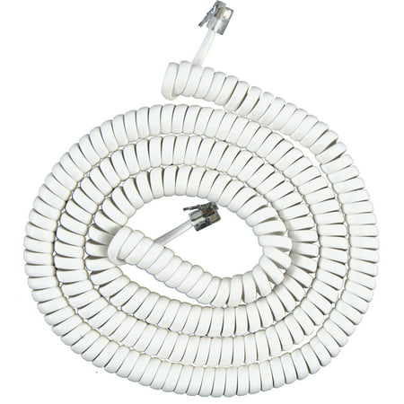 Onn Telephone Coiled Handset Cord, 15 Feet, White