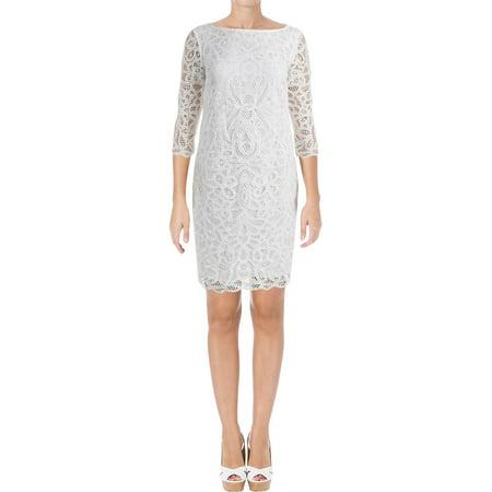 Lauren Ralph Lauren Womens Vasdicia Lace Overlay 3/4 Sleeves Cocktail Dress