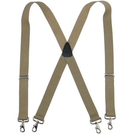 Men's Big & Tall Elastic Solid Color X-Back Suspender with Swivel Hook Ends