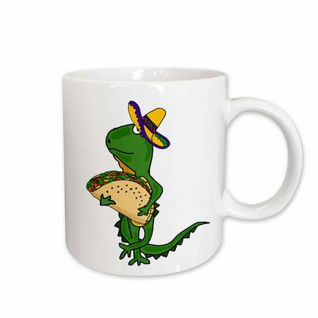 3dRose Funny Cute Iguana wearing Sombrero and Eating Taco Cartoon - Ceramic Mug, 11-ounce