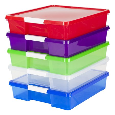 Storex 12x12 Stack & Store Box, Multiple Colors (5 units/pack)