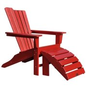 2-Pc Outdoor Adirondack and Ottoman Set in Red