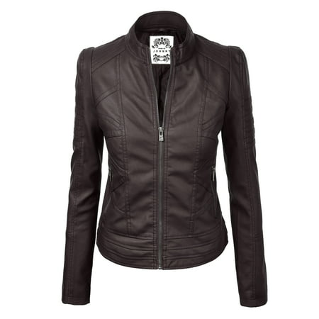 Racing Replica Leather Jacket - MBJ WJC746 Womens Vegan Leather Motorcycle Jacket M COFFEE