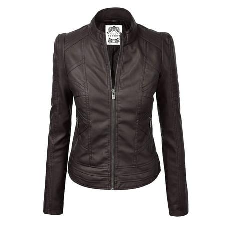 MBJ WJC746 Womens Vegan Leather Motorcycle Jacket M COFFEE