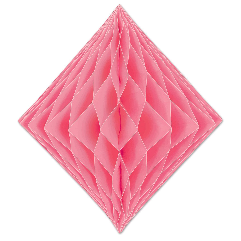 "Club Pack of 12 Honeycomb Pastel Pink Diamond Hanging Decorations 12.5"""