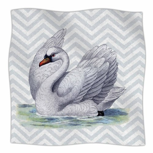 East Urban Home Vintage Swan by Suzanne Carter Fleece Bla...
