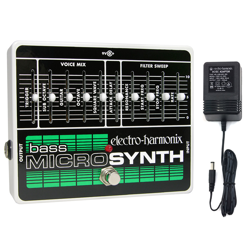 Electro-Harmonix Bass Micro Synth Pedal With Power Supply by New Sensor