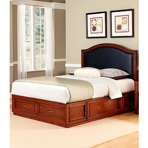 Home Styles Duet Platform Queen Camelback Bed with Black Leather Inset, Rustic Cherry