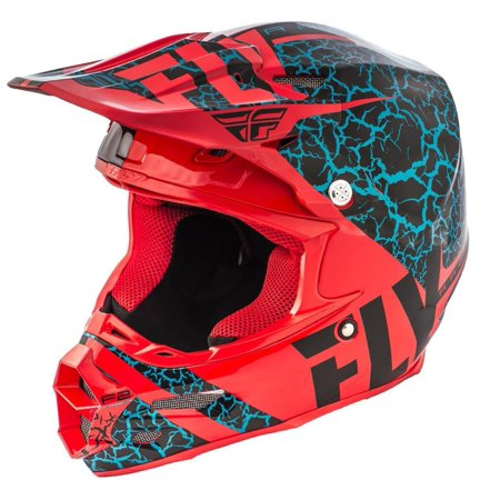 Fly Racing F2 Carbon Fracture Helmet Black/Red/Light Blue (Red, XX-Large)