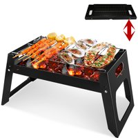Folding BBQ Barbecue Charcoal Grill Black Easy Grill - Lightweight, Foldable - For Camping, Picnic, Travel, Outdoor