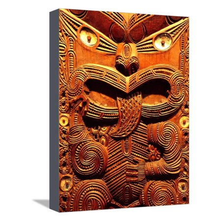 Historic Maori Carving, Otago Museum, New Zealand Stretched Canvas Print Wall Art By David Wall