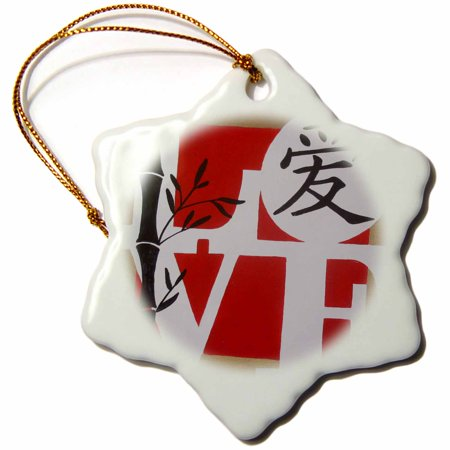 (3dRose LOVE with Chinese character, Snowflake Ornament, Porcelain, 3-inch)