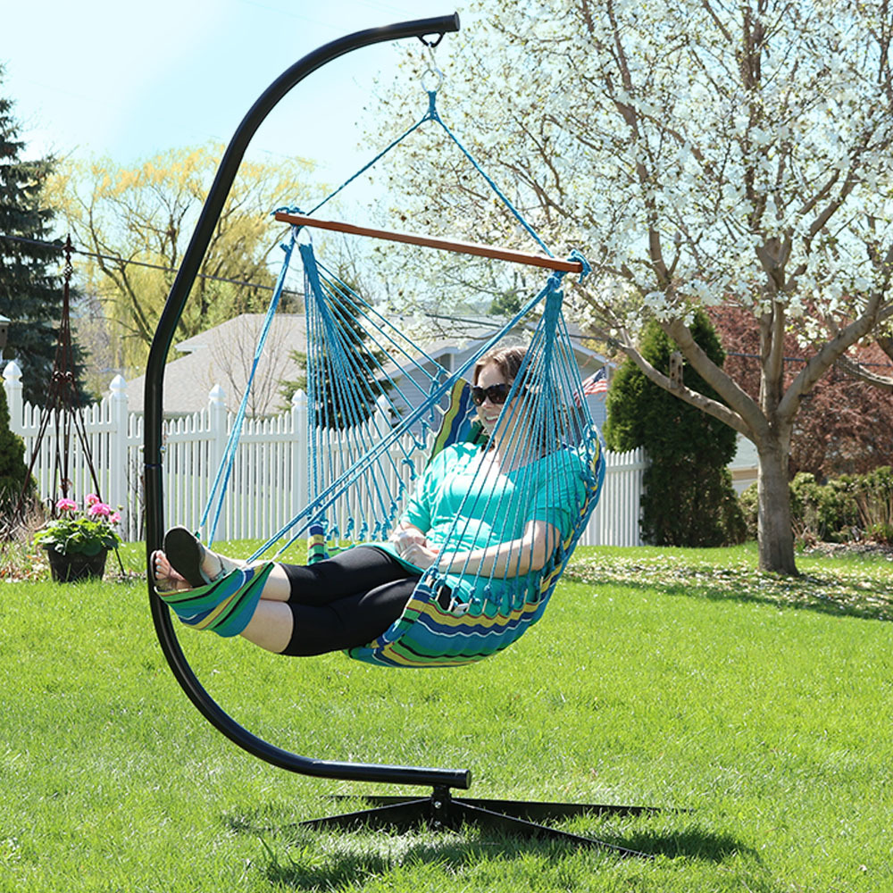 Sunnydaze Hanging Padded Soft Cushioned Hammock Chair With Footrest And  C Stand, 26 Inch Wide Seat, Max Weight: 300 Pounds, Ocean Breeze