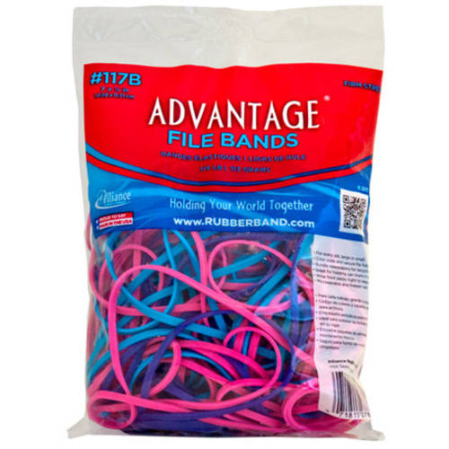 "Alliance, Advantage Rubbber Bands, #117B (7"" x 1/8"") File Bands, 4oz. Bag, Assorted Pink, Purple, & Blue"