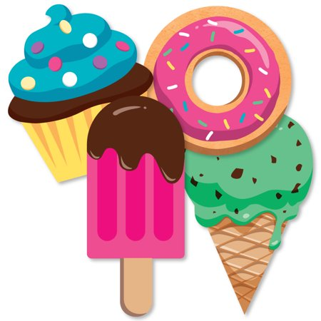 Sweet Shoppe - Donut, Ice Cream and Cupcake Decorations DIY Candy and Bakery Birthday Party or Baby Shower Essentials - (Ice Decorations)