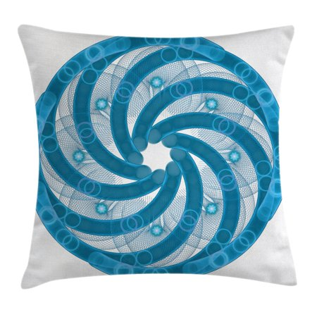 Spires Decor Throw Pillow Cushion Cover, Computer Rendered Abstract Fractal Rotary Turning Futuristic Hole Tube Whirl Decor, Decorative Square Accent Pillow Case, 20 X 20 Inches, Blue, by - 20 Accent Tube