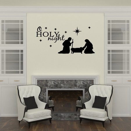 Wall Decal Quote O Holy Night Baby Jesus Christmas Vinyl Lettering Quote W1 ()
