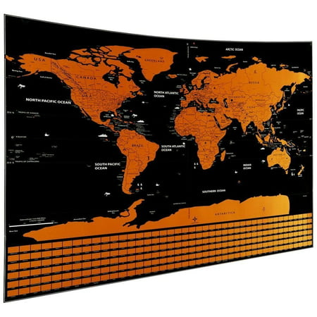 Scratch Off World Map Poster.Mojco Scratch Off Map Of The World Travel Poster W Country Flags