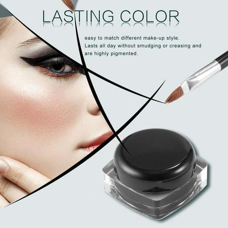 Professional Waterproof Long Lasting Gel Eye Liner Shadow Cream Cosmetics Eyeliner With Brush Black Set Makeup Eyeliner