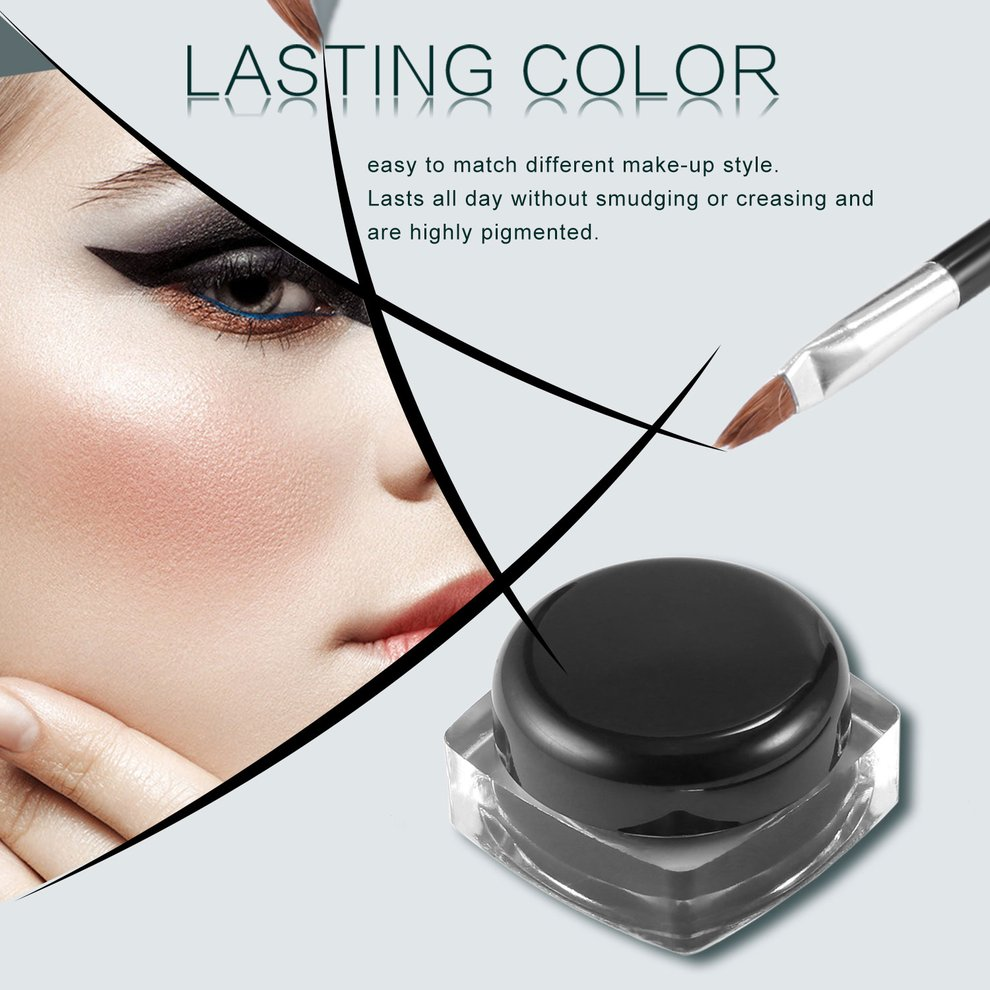 Professional Waterproof Long-lasting Gel Eye Liner Shadow Cream Cosmetics Eyeliner With Brush Black Set Makeup Eyeliner