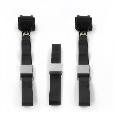 Airplane 2 Point Black Retractable Bench Seat Belt Kit with 3 Belts for 1970-1981 Camaro - image 1 of 1