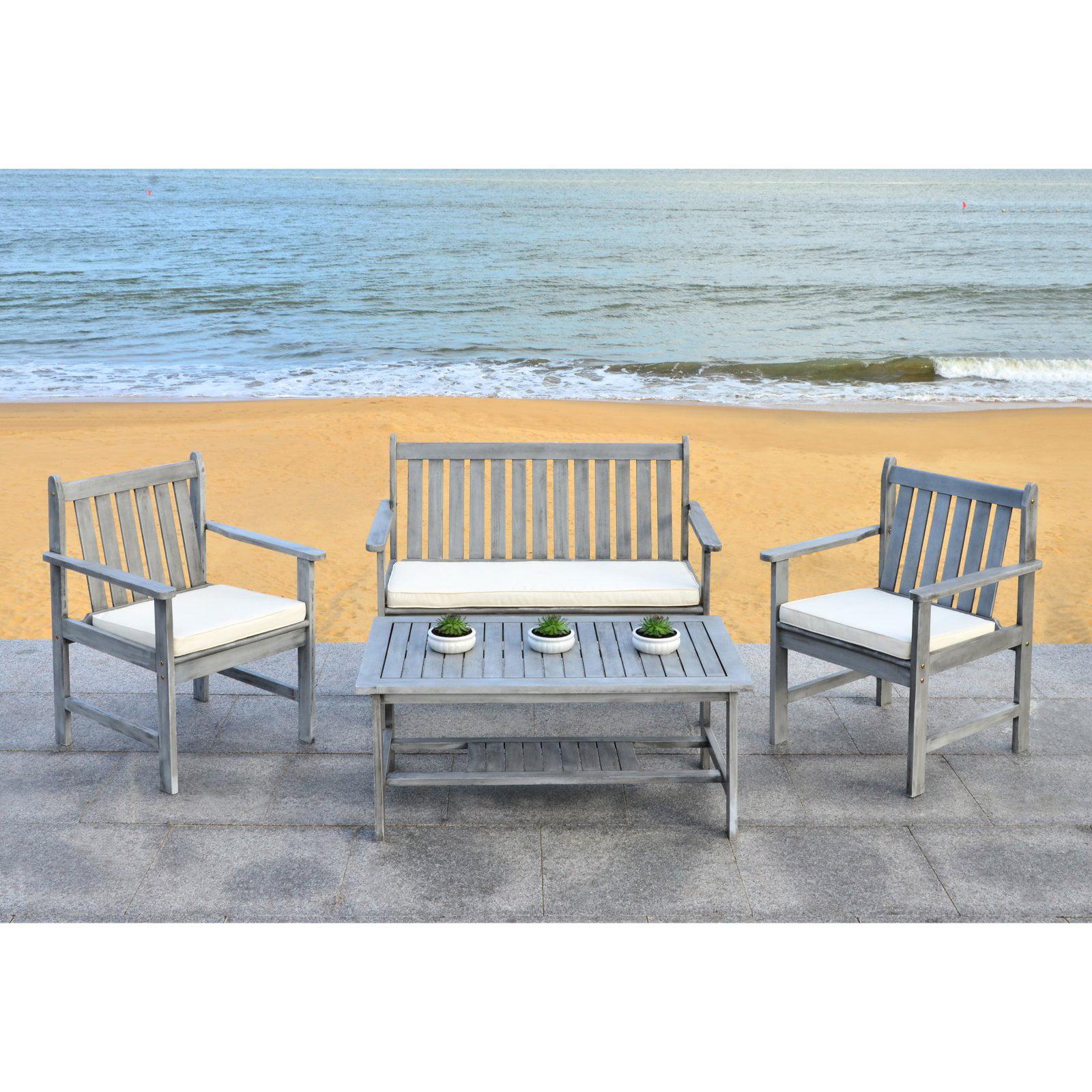 Safavieh Burbank Outdoor Contemporary 4 Piece Living Set with Cushion