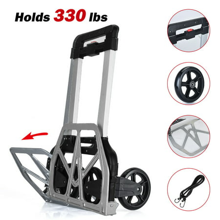 CAMTOA Folding Hand Truck Heavy Duty, 330-Lb  Load Capacity Portable  Aluminum Alloy Cart Hand Dolly Push Truck Trolley with Wheels, for