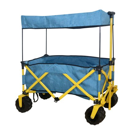 Ez Cart - BLUE OUTDOOR FOLDING WAGON CANOPY GARDEN UTILITY TRAVEL CART COMPACT EZ SETUP