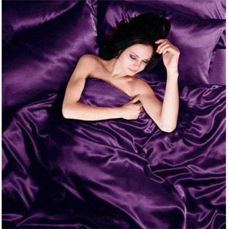 - Todd Linens Sexy Satin Sheets 6 Pcs Queen/King Bedding Set 1 Duvet Cover + 1 Fitted Sheet + 4 Pillow Cases (Many Colors) Purple King