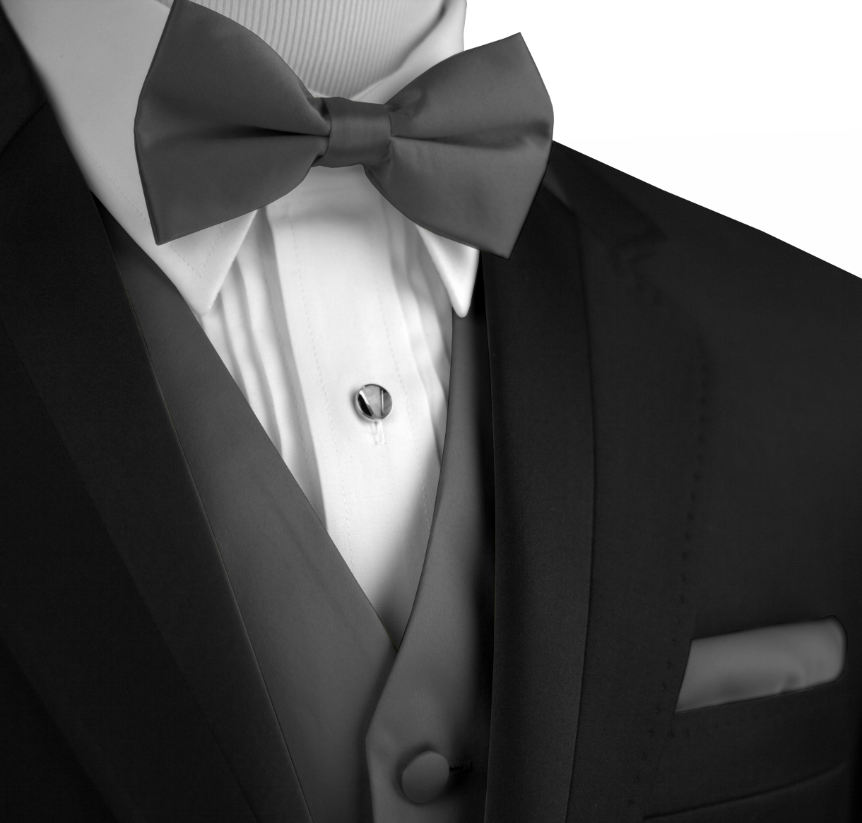 Italian Design, Men's Tuxedo Vest, Bow-Tie & Hankie Set in Charcoal