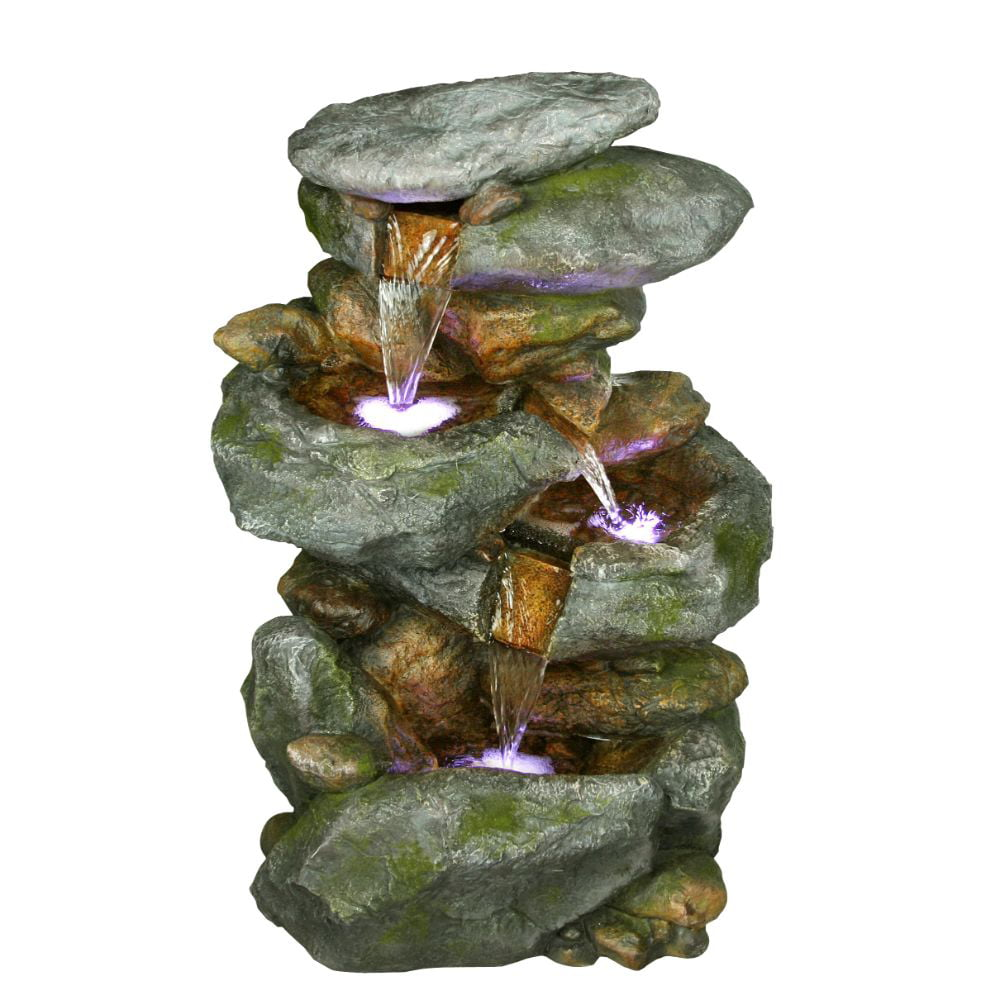 22 Inch Rock Waterfall Fountain With Led Lights by Benzara