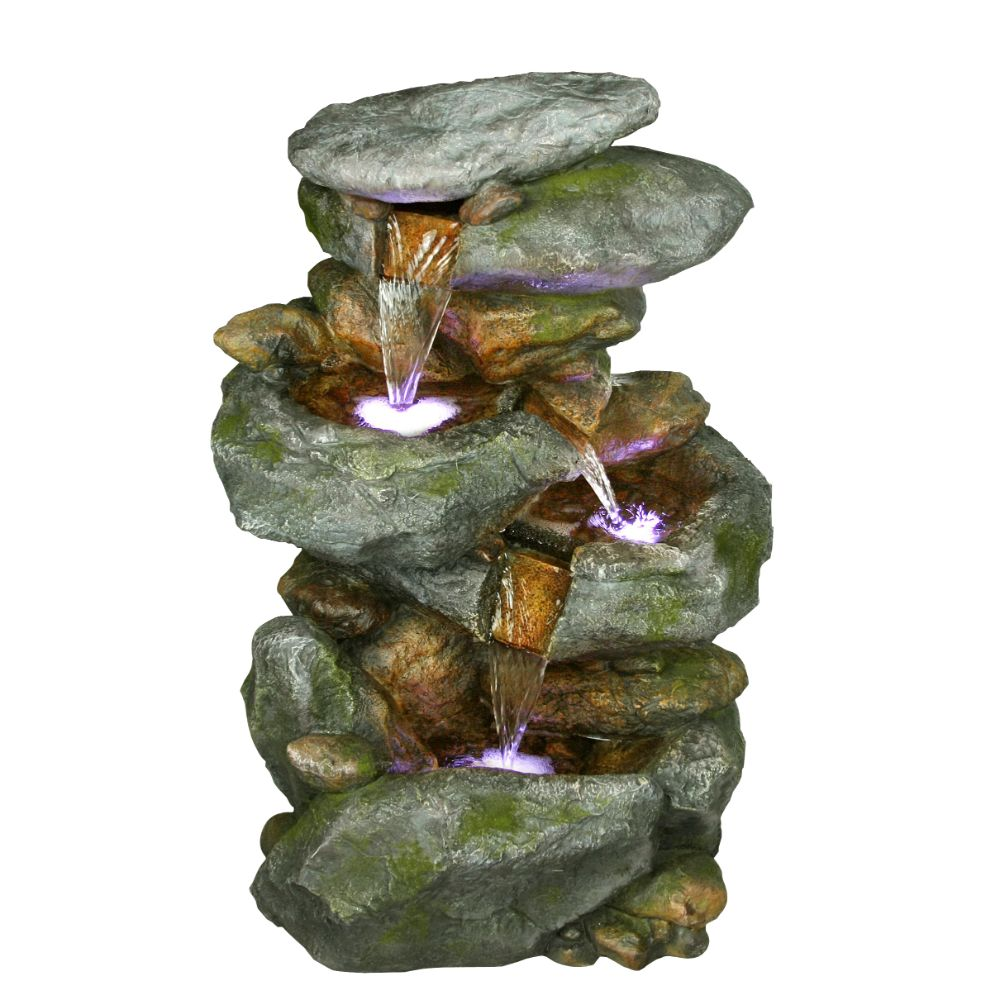 22 Inch Rock Waterfall Fountain With Led Lights