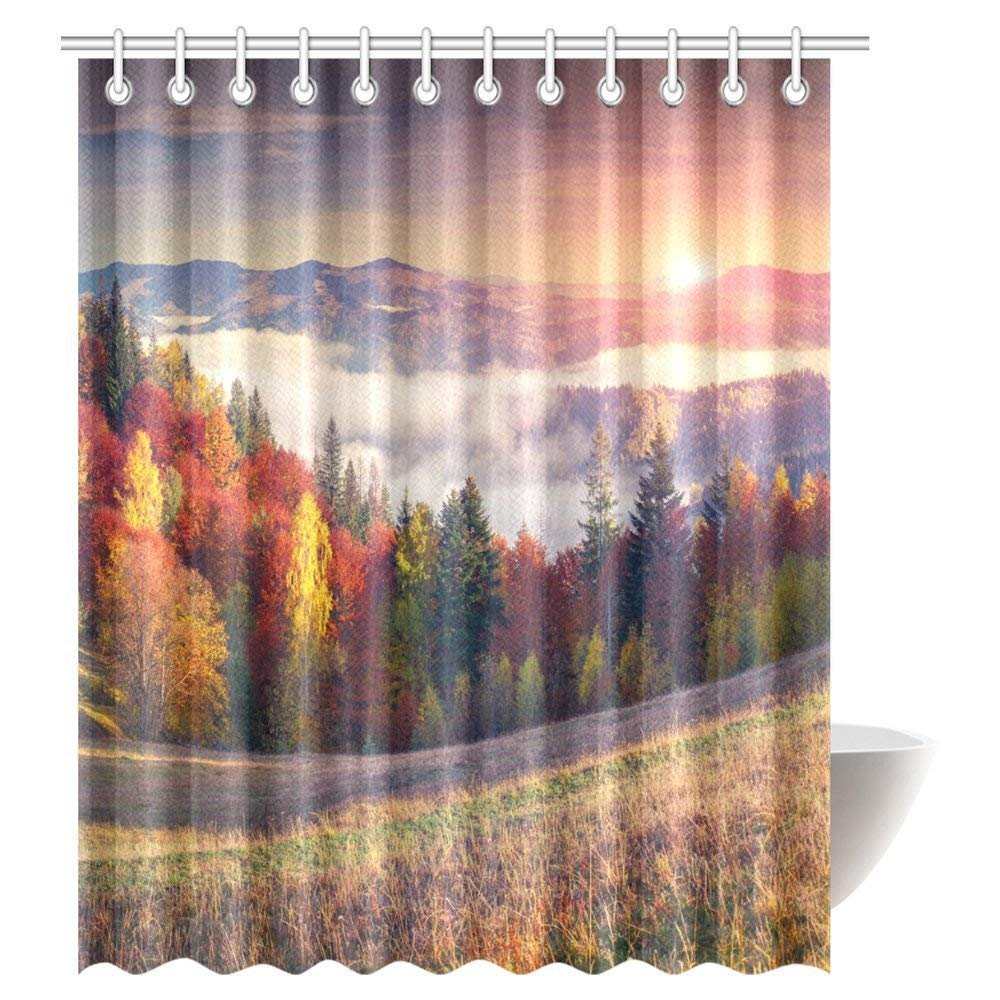 GCKG Landscape Shower Curtain Sunrise With Stunning Sky Colors