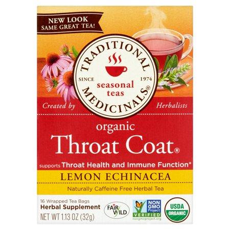 TRADITIONAL MEDICINALS Thés de saison Manteau Gorge bio Citron Echinacea Sachets de thé - 16 CT