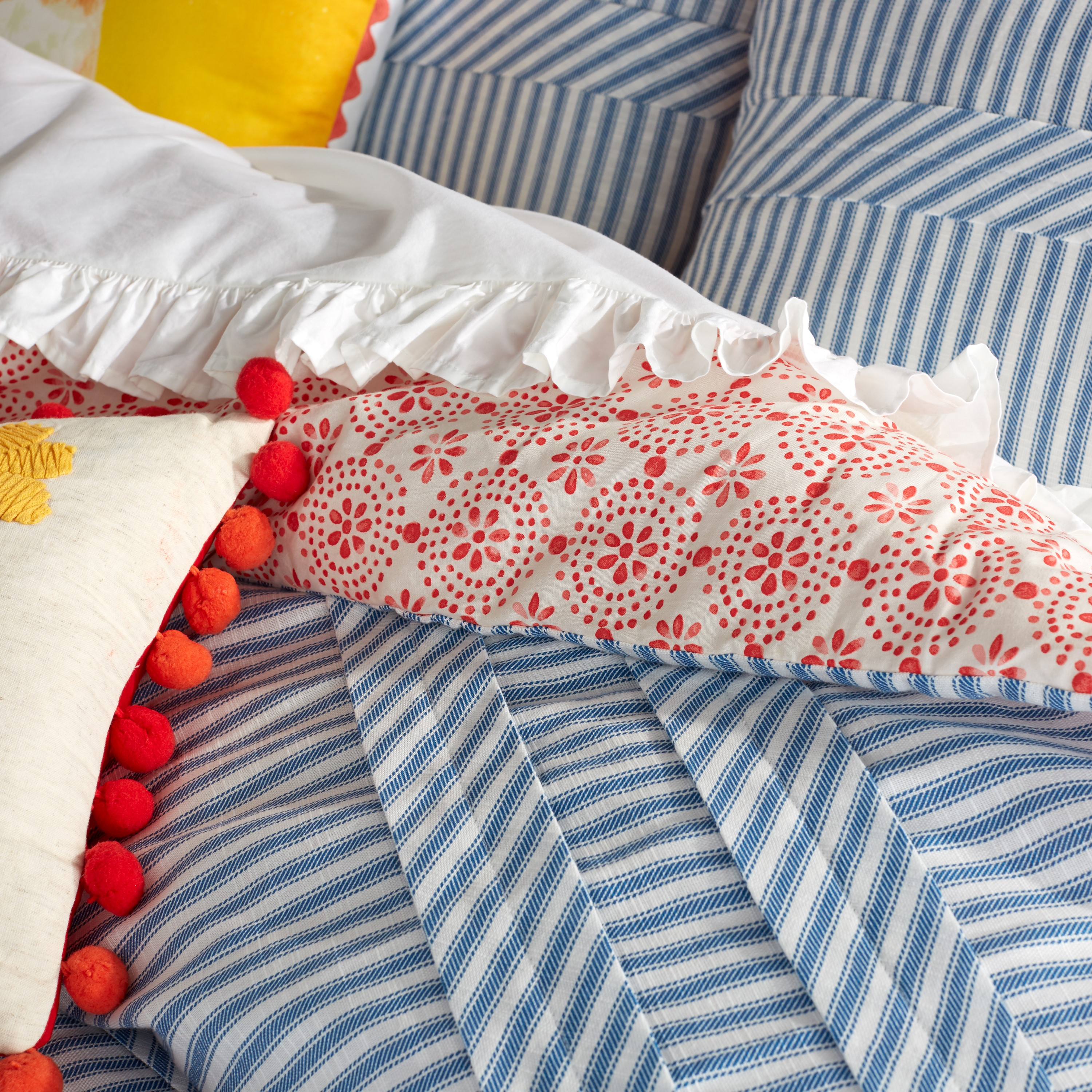 """Handmade mattress pillow for American Girl or other 18/"""" Doll Blue floral ticking"""