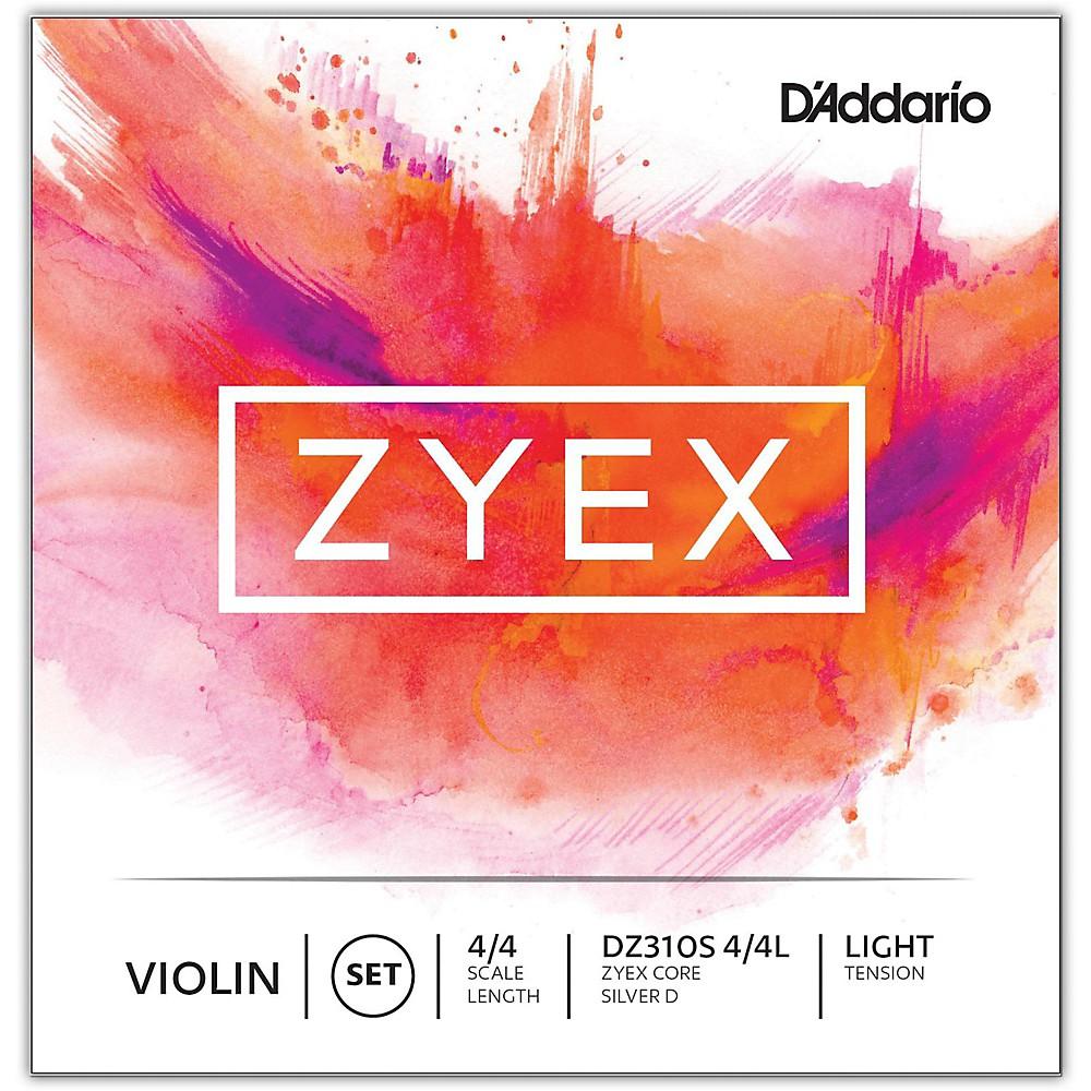 D'Addario Zyex Series Violin String Set 4/4 Size Light, Silver D