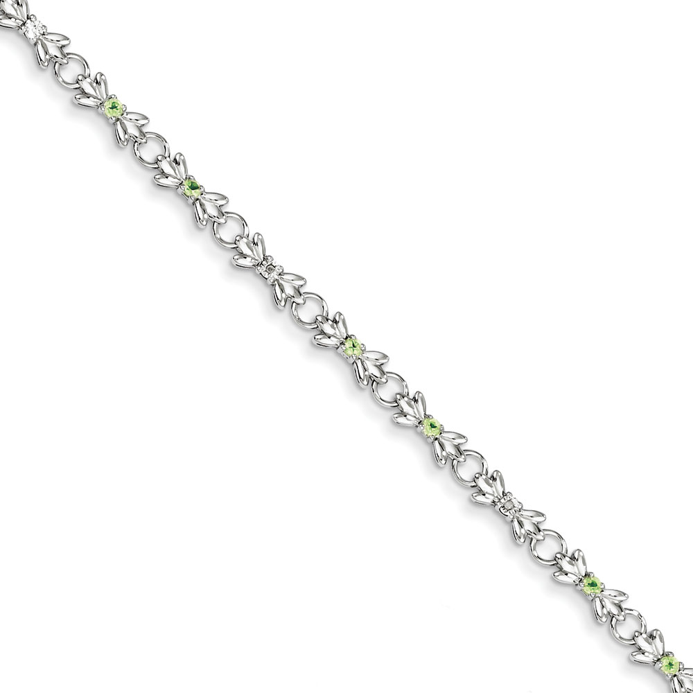 Sterling Silver Peridot and Diamond Bracelet .007 dwt .40 cwt by