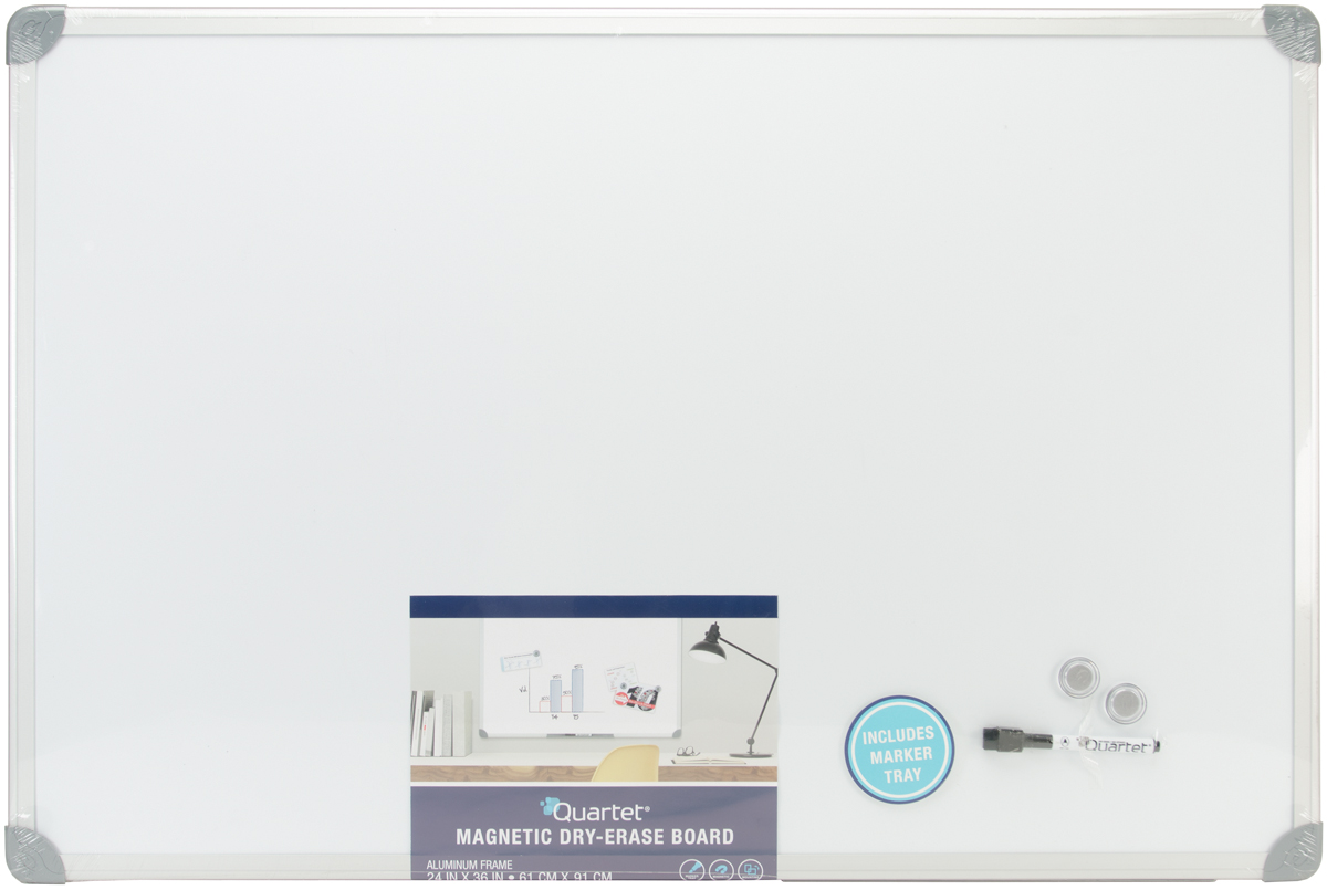 """Magnetic Dry Erase Board W Euro Frame 36""""X24"""" Brushed Aluminum Frame by Mead"""