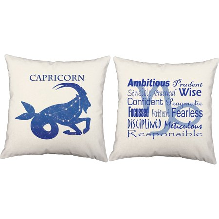 Set Of 2 Capricorn Throw Pillow Covers 14x14 Inch Square White