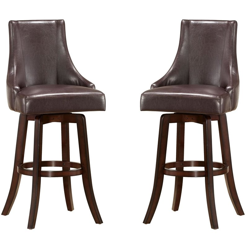 "Steve Silver Company Brooks 30"" Swivel Bar Stool in Brown"