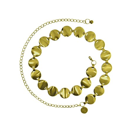 Smooth Round Disc Chain Link Belt (Diva Gold Necklace)