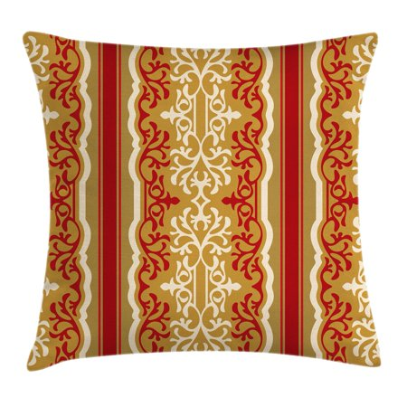 Arabesque Throw Pillow Cushion Cover, Middle Eastern Swirl Floral Ornament Branches Motif Oriental Artwork, Decorative Square Accent Pillow Case, 16 X 16 Inches, Ruby Light Coffee Cream, by - Oriental Artwork