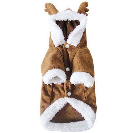 Mosunx Christmas Elk Cool Cute Dog Pet Cosplay Thick Flannel Costume Clothing
