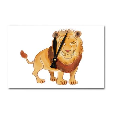 Lion - Soft Cartoon - Lantern Press Artwork (Acrylic Wall Clock)