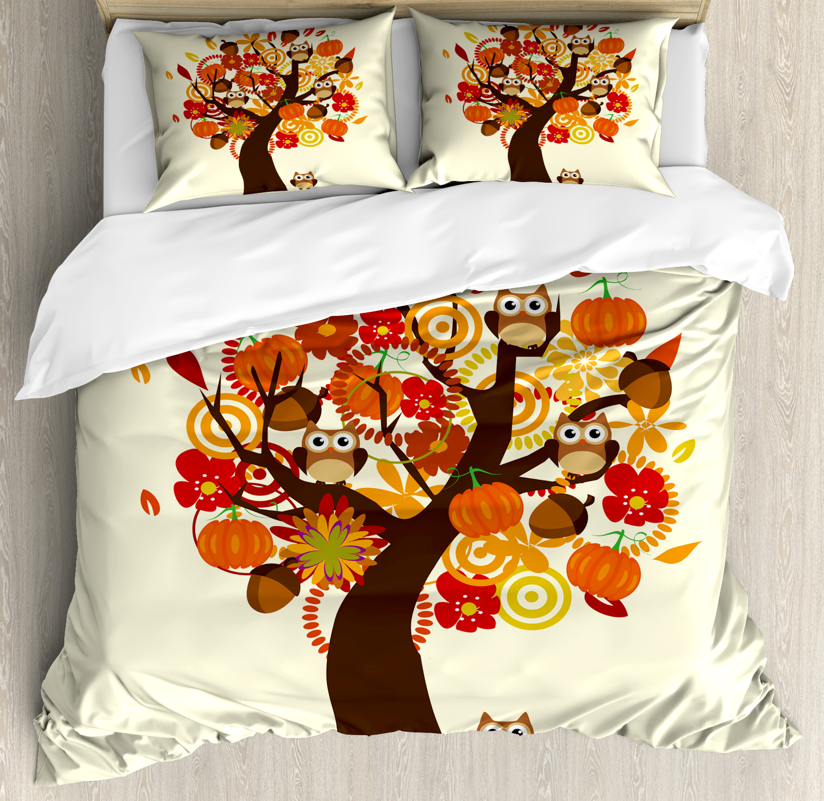 Kids Thanksgiving King Size Duvet Cover Set, Abstract Fall Tree with Flowers Acorns Pumpkins and Owls Generous Nature, Decorative 3 Piece Bedding Set with 2 Pillow Shams, Multicolor, by Ambesonne