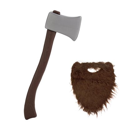 Lumberjack Brown Beard With Plastic Toy Fireman Firefighter Ax Axe Costume Set