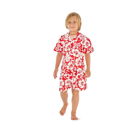 Hawaii Hangover Boy Aloha Luau Shirt Cabana Set in Classic Hibisucs Red 2 Year Old