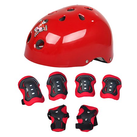 Elbow Wrist Knee Pads and Helmet Sport Safety Protective Gear Guard for Kids Skateboard Skating Cycling Riding Blading Set of 7pcs - Red ()